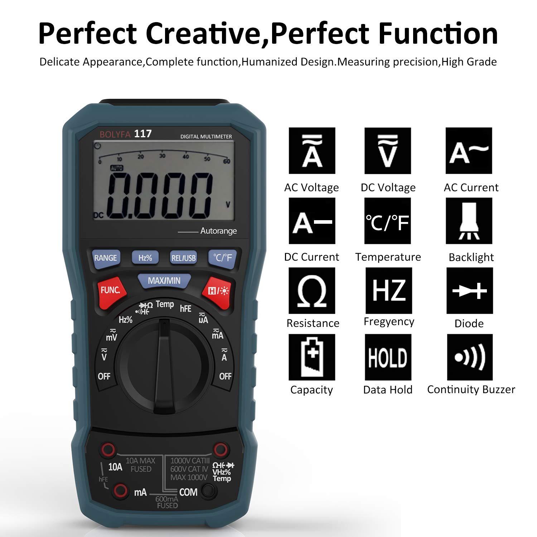 BOLYFA Multim/ètre avec USB,Avanc/é TRMS 6000 Points//Amp/èrem/ètre //Voltm/ètre//Ohmm/ètre //Ecran LCD R/étro/éclair/é//Mesure de Temp/érature //Fr/équence//Con Multim/ètre Num/érique