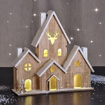 Led Holz Haus Beleuchtet Tischdeko Mit 6 Lichtern Weihnachtsdeko