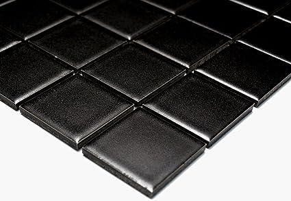 Mosaïque Réseau De Mosaïque Carrée Pour Carrelage Uni Noir Mat Céramique  Pour Carrelage Sol Douche Murale