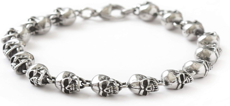 HAQUIL Punk Jewelry Stainless Steel Skull Links Charms Bracelet Skull Bracelet for Men for Women