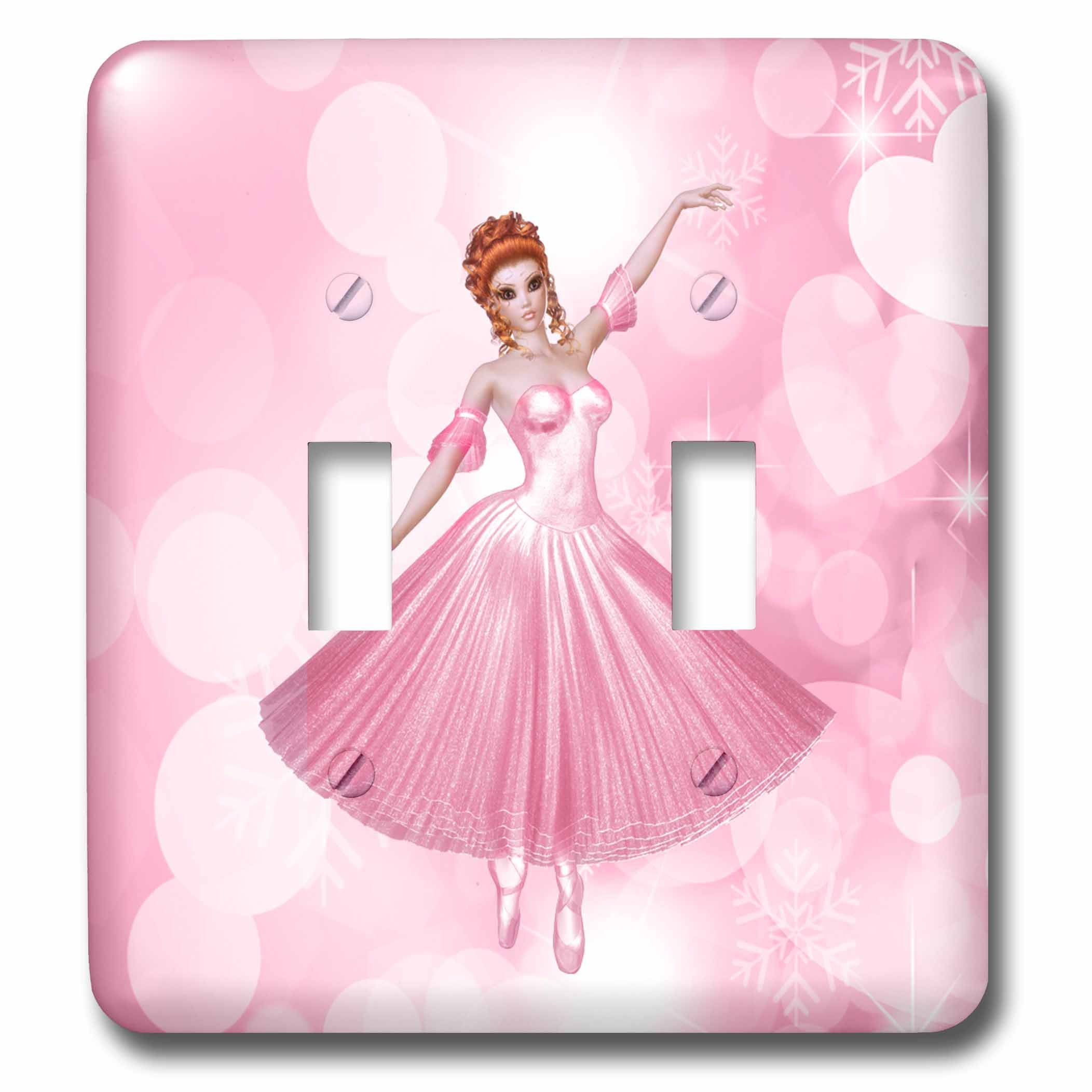 3dRose Doreen Erhardt Ballet - Pink Ballerina with Heart Shaped Bokeh for Girls - Light Switch Covers - double toggle switch (lsp_264268_2)