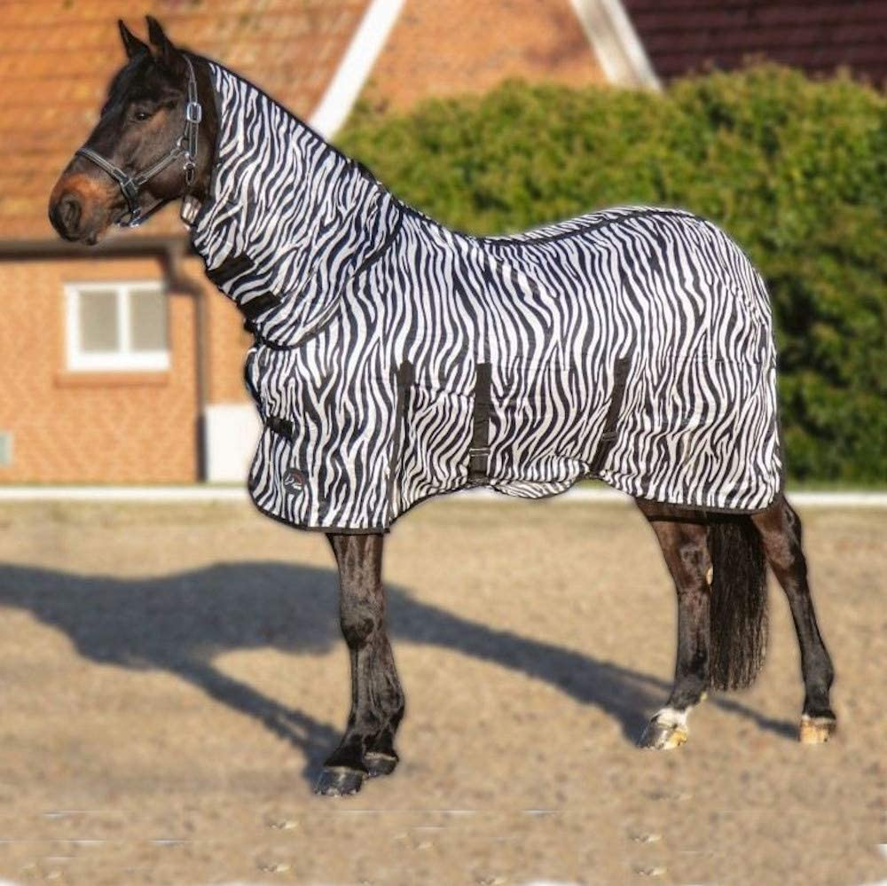 Horse Fly Rug Zebra Print Tail Strap No Neck Adjustable Front Buckle Blanket