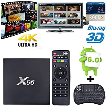 NHSUNRAY X96 Smart TV Caja Amlogic S905X Quad-core Android 6.0 Smart Set TV superior