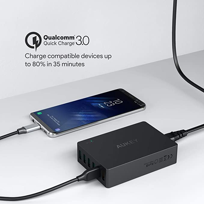 AUKEY Quick Charge 3.0 60W USB Charger with 6-Port USB Charging Station, Compatible with Samsung Galaxy Note8, iPhone 11/11 Pro/XS Max/XS/XR, iPad ...
