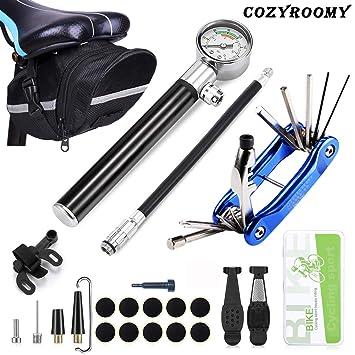 COZYROOMY Kit Herramientas Bicicleta,Reparación de pinchazos Bicicleta, 210 PSI Mini Pump, Herramienta