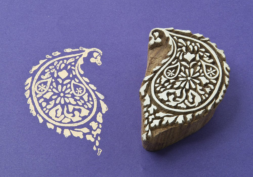Blockwallah Curvy Paisley Wooden Block Stamp