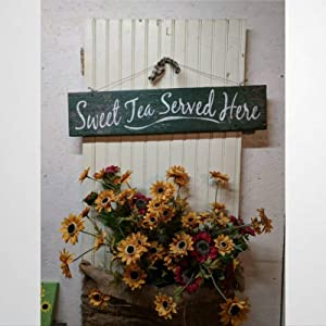 BYRON HOYLE Sweet Tea Served Here Wood Sign,Wooden Wall Hanging Art,Inspirational Farmhouse Wall Plaque,Rustic Home Decor for Living Room,Nursery,Bedroom,Porch,Gallery Wall