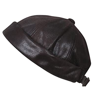 ae32cb9e45e ililily Faux Leather Solid Color Short Beanie Strap Back Winter Hat Casual  Cap