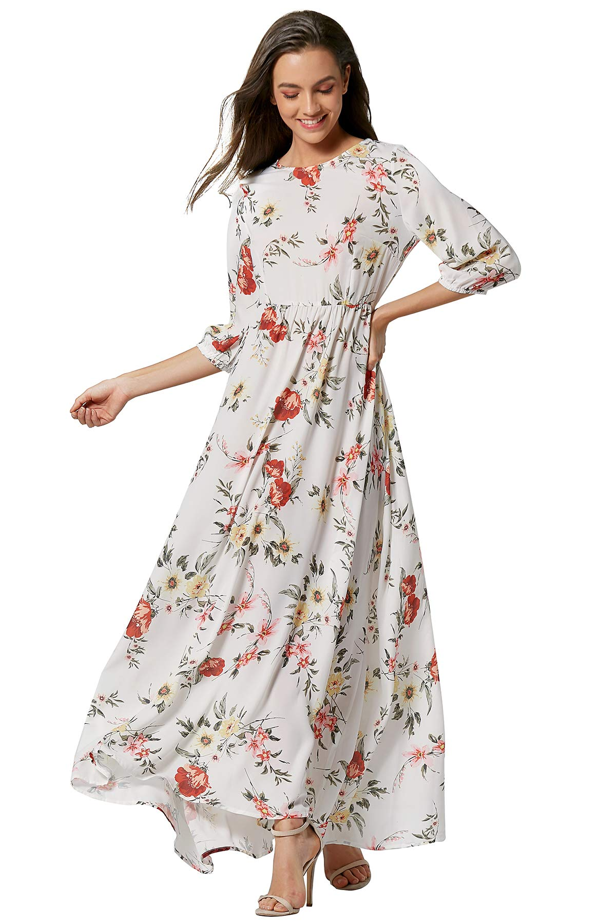 Women Sun Floral Dress Summer Prom Cocktail Party Maxi Casual Gowns Dresses