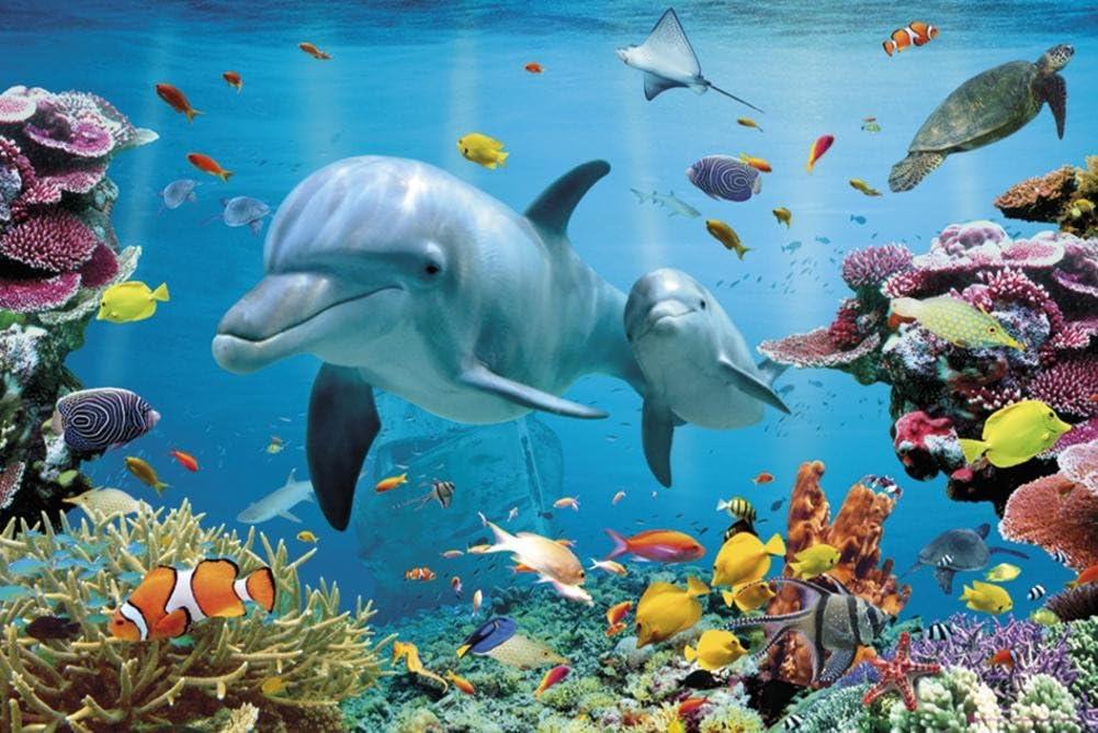 Tropical Dolphins Art Print Poster - 24x36 Animal Poster Print, 36x24