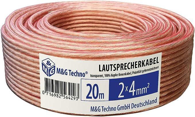 30m 2x4 mm² Lautsprecherkabel Audio kabel Boxenkabel Flach Transparent