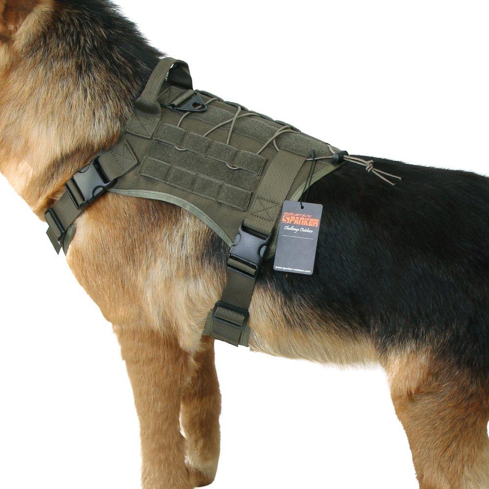 EXCELLENT ELITE SPANKER Tactical Service Dog Vest Military Patrol K9 Dog Harness Nylon Molle Adjustable Dog Vest Harness with Handles(Ranger Green-M)