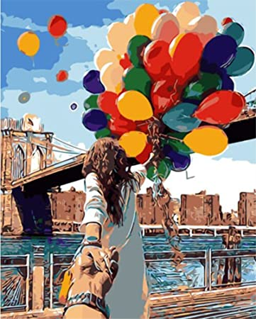 Wooden Framed ABEUTY DIY Paint by Numbers for Adults Beginner Balloon London Bridge Romantic 16x20 inches Number Painting Anti Stress Toys