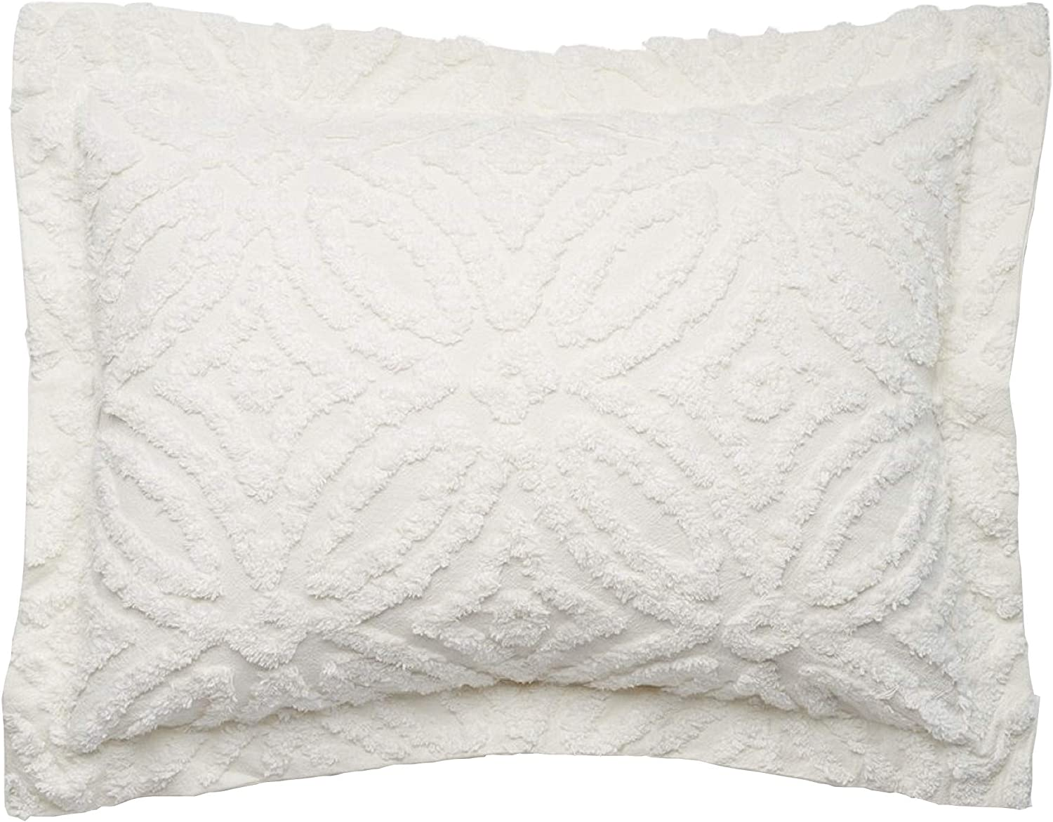 Beatrice Home Fashions Wedding Ring Chenille Pillow Sham, Standard, Ivory