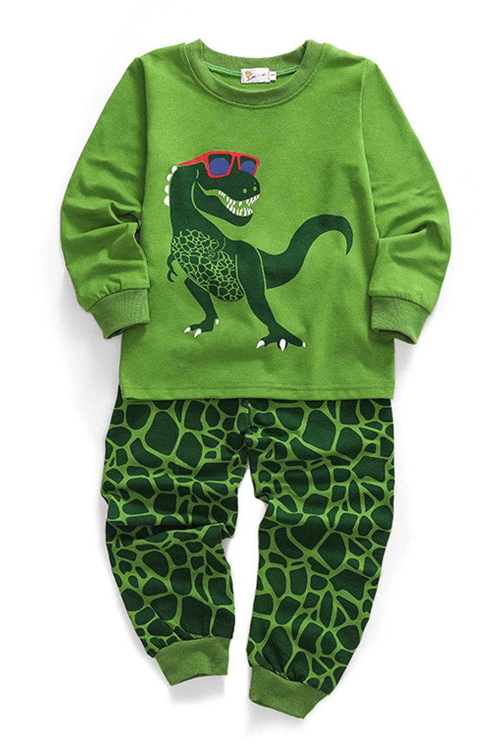 Unomatch Kids Boys Comfortable Graphic Two Piece Outfit (8, Green)
