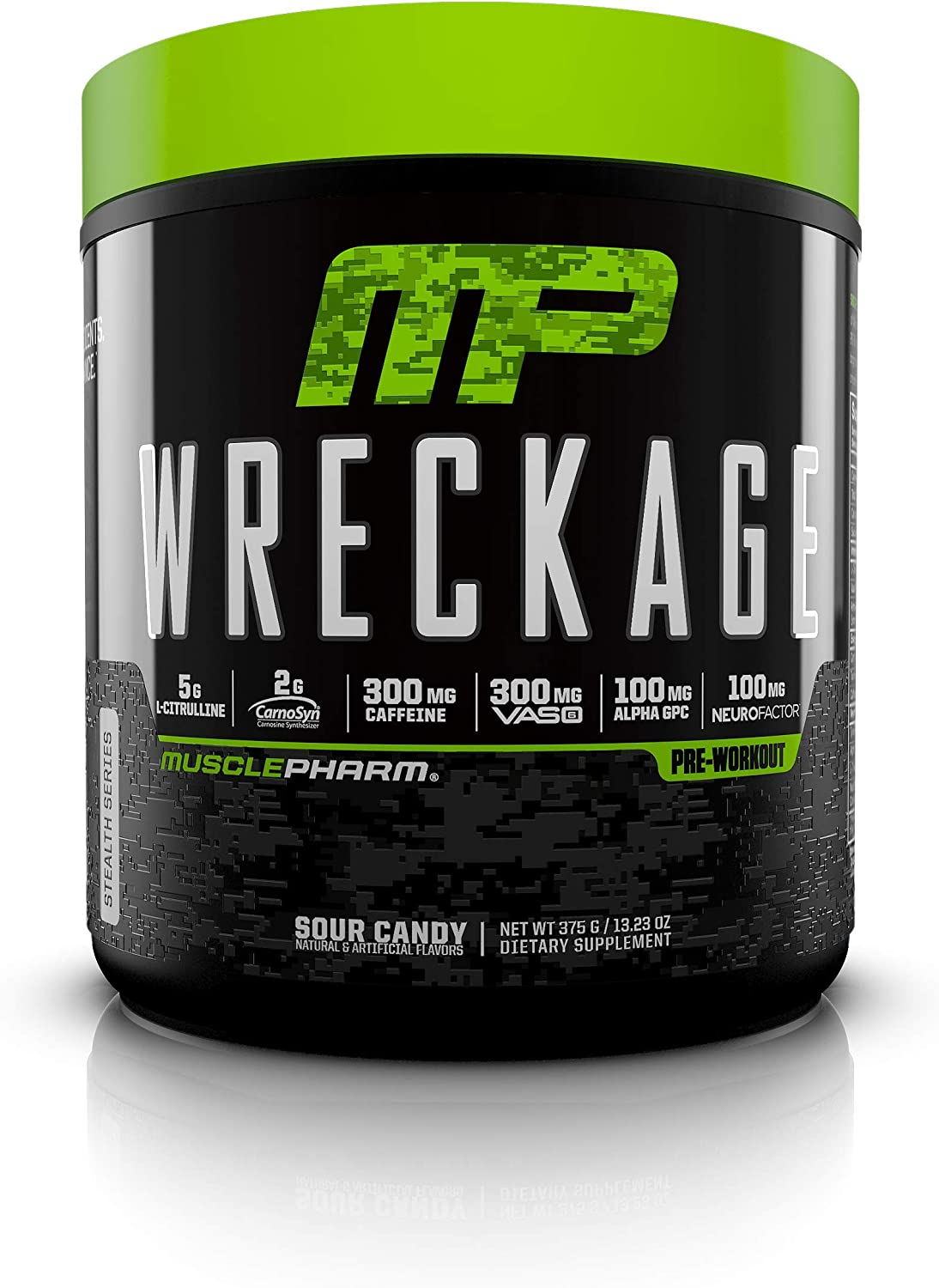 MusclePharm Wreckage Pre-Workout Powder, Superior Focus and Sustained Pump, Sour Candy, 25 Servings