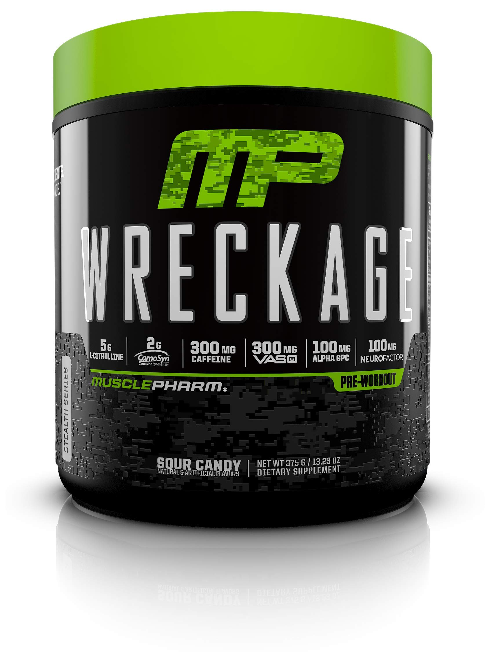MusclePharm Wreckage Pre-Workout Powder with Superior Focus, Extreme Energy and Sustained Pump - Nitric Oxide, Beta Alanine, and Caffeine, Fruit Punch, 25 Servings by Muscle Pharm