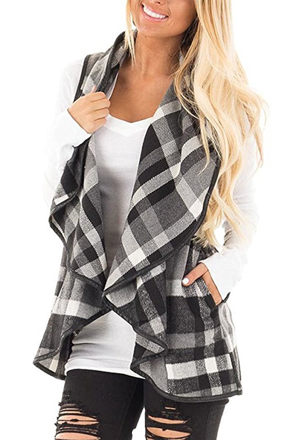 Womens Lapel Open Front Sleeveless Plaid Vest Cardigan with Pockets (Grey 2XL)