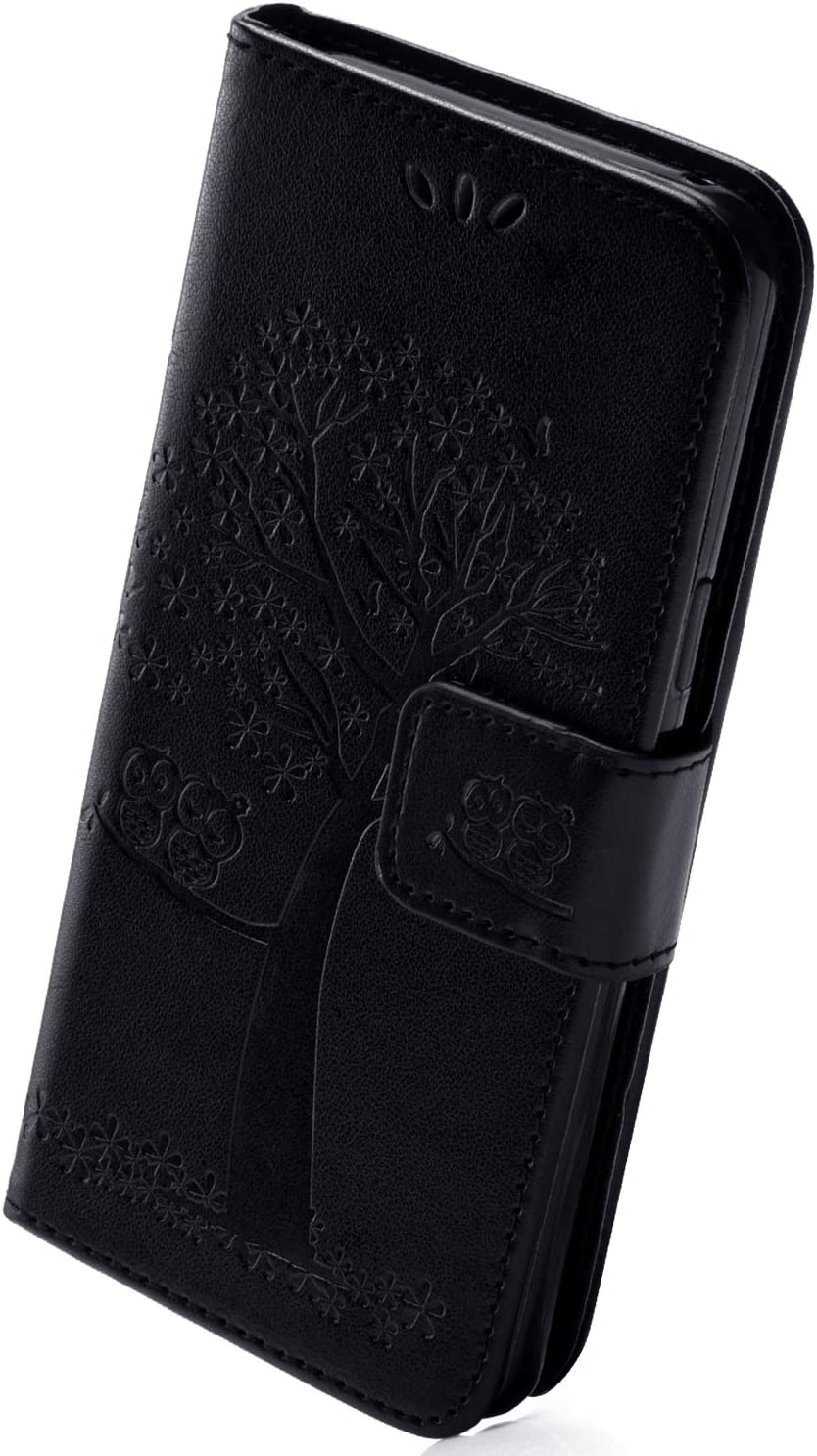 Herbests Compatible with Huawei Y6 Prime 2018 Wallet Flip Folio Case Embossed Owl Tree Pattern Retro PU Leather Full Body Protective Stand Cover Credit Card Magnetic Closure Strap,Black
