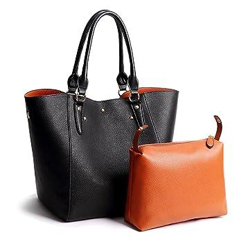 f19b274d7a96e2 VECHOO 2in1 Damen Handtasche Elegant Shopper tasche groß Weich Leder  Schultertaschen Henkeltasche Umhängetasche mit Abnehmbare Leder