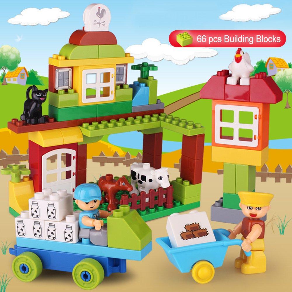 【再入荷】 SUPOW Toddlers Building Blocksおもちゃ Building、pre-kindergarten for 66個My Happy playfarm Educational Toy for Toddlers B078B54TWW, レンタル衣装 ふるーれ:a3a3cf43 --- a0267596.xsph.ru