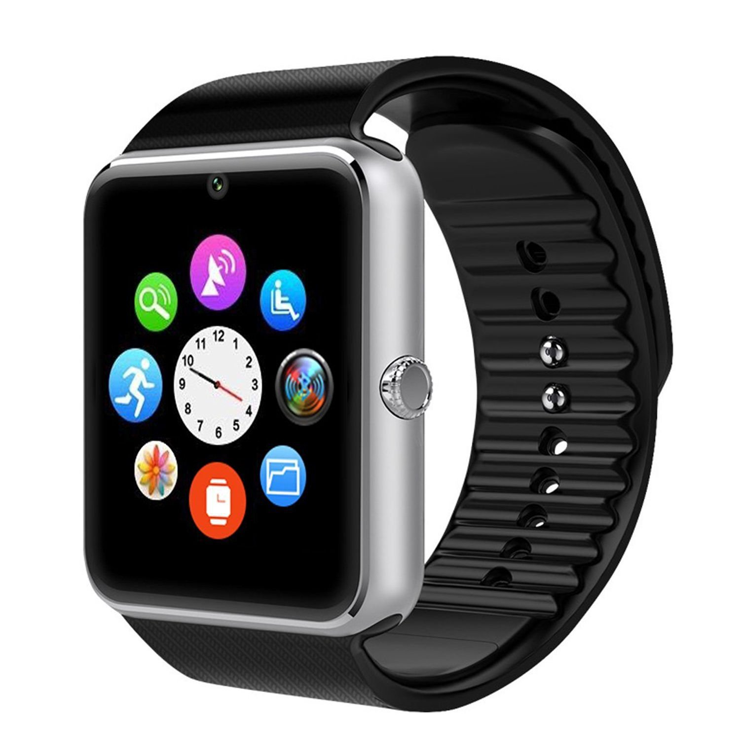 TOP-MAX Bluetooth Smart Watch Silver, GT08 Smartwatch with SIM Card Slot  and Camera for Android and IOS Smartphone(APP not Compatible with IOS  System)