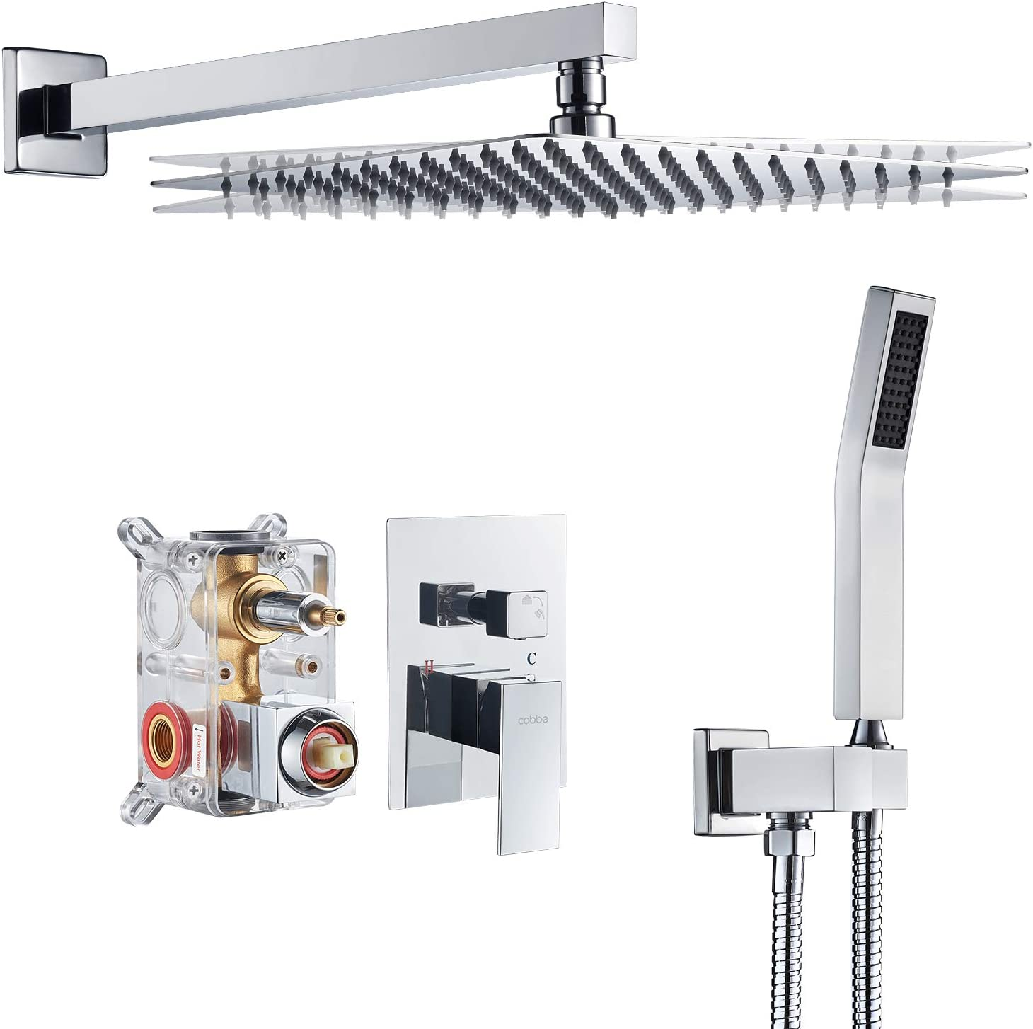 Cobbe Shower System,Shower Faucets Sets Complete,12 inches Rainfall Shower Head with Handheld, Shower Faucet Set for Bathroom Rough-in Valve Body and Trim Included Chrome