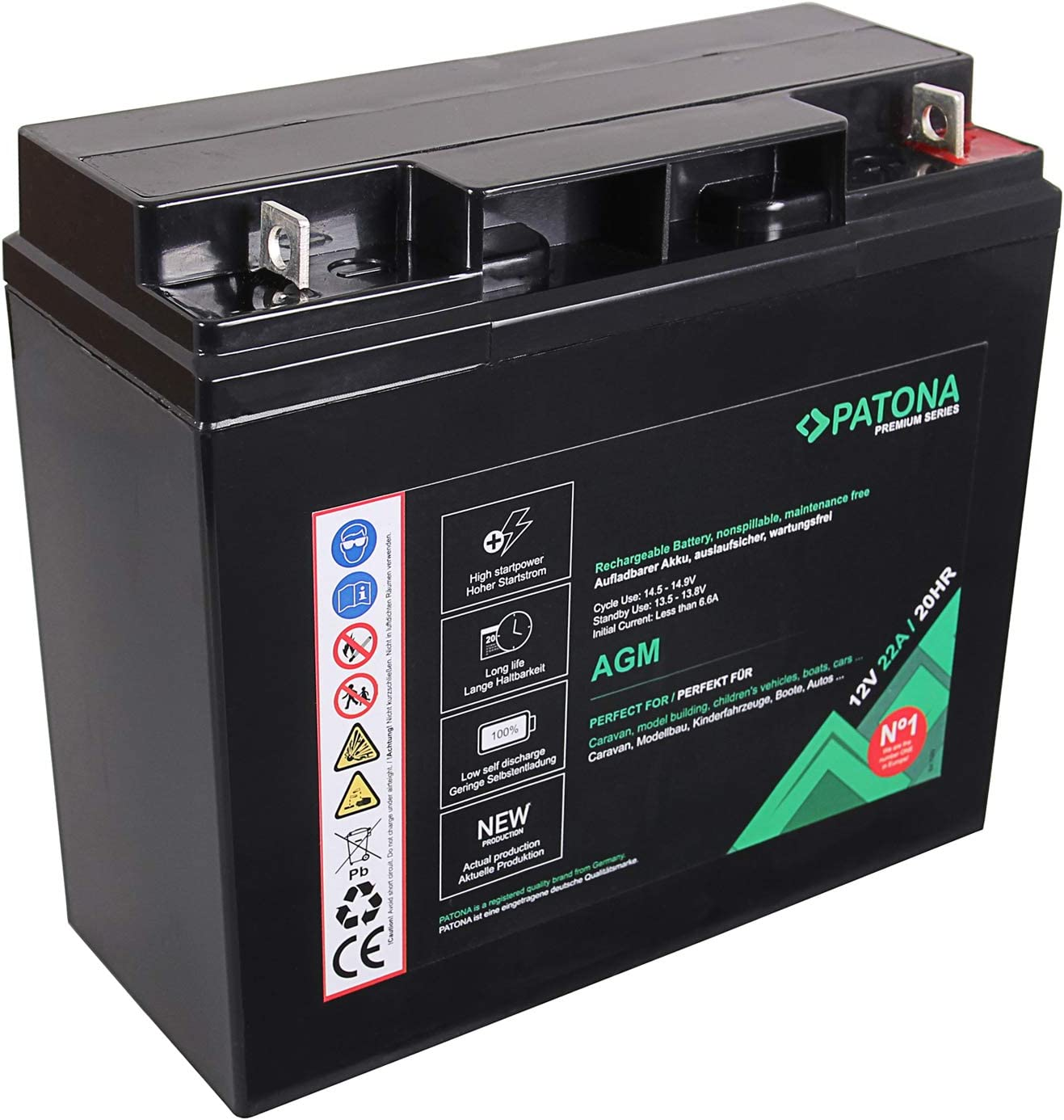 Patona Premium AGM 12V 12A Lead Battery VRLA Maintenance-Free 1800 Cycles