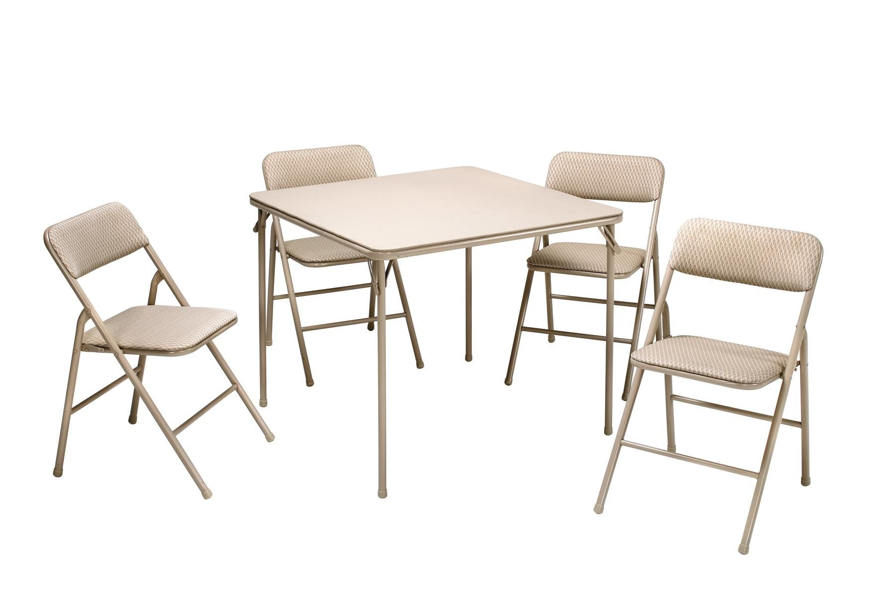 Cosco 5-Piece Folding Table and Chair Set, Tan Wheat Diamond by Cosco