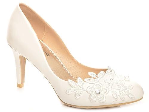 83fd21d7de22 Maggie Boutique Off White Lace Crochet Mid Heel Wedding Pumps Bridal Shoes