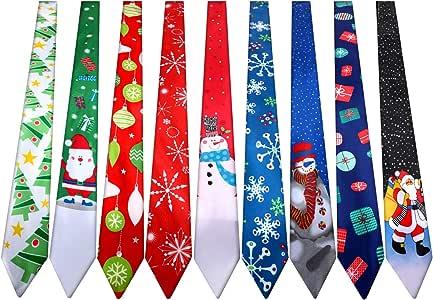 SATINIOR 9 Piezas Corbatas de Navidad Corbata Decorativa de ...