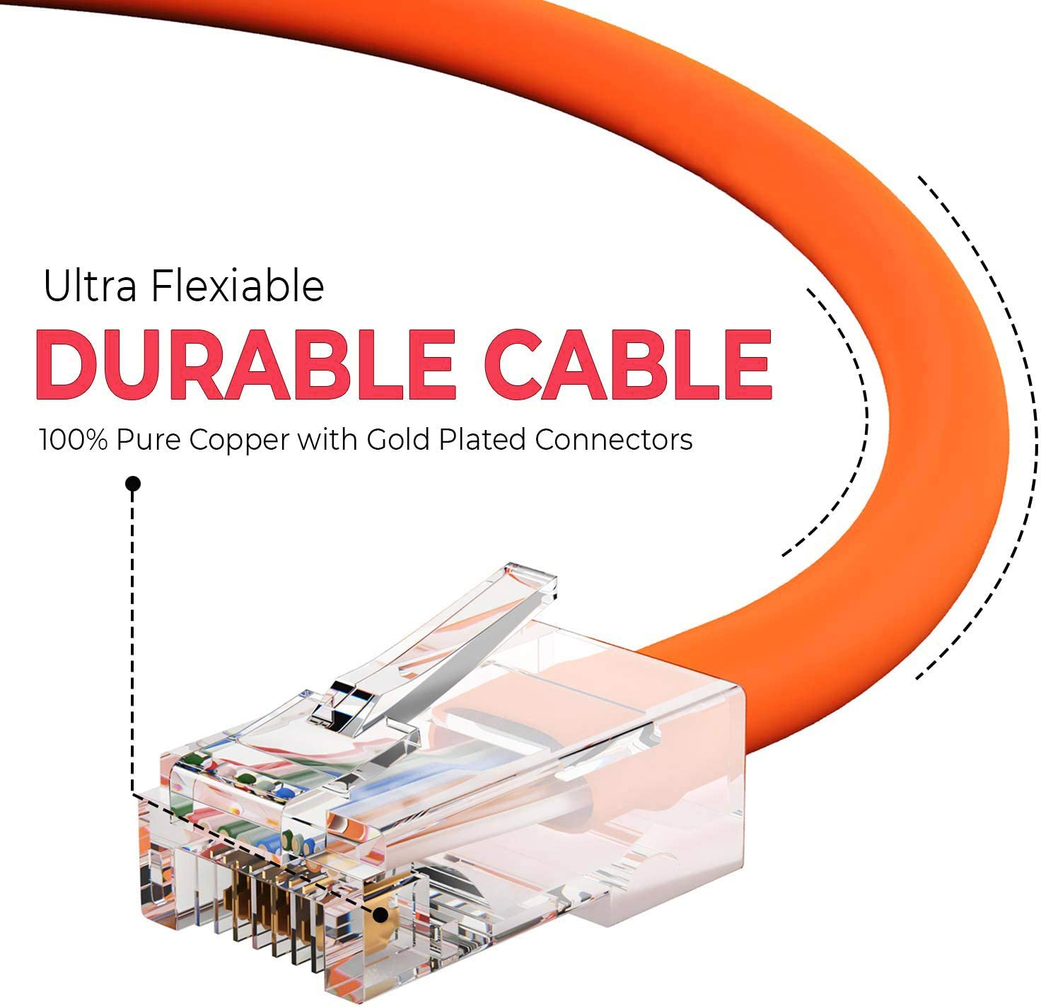 Professional Series BoltLion BL-696345 Bootless Cat5e RJ45 Ethernet Cable 10 Feet 50 Pack Orange 350MHZ 1Gbps Network//Internet Cable