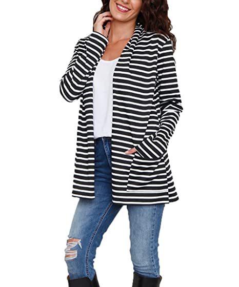 89c532608e NuoReel Women Front Open Classic Lightweight Long Sleeve Cardigan Tops with  Pockets Outwear (X-Large Black Stripe) at Amazon Women s Clothing store