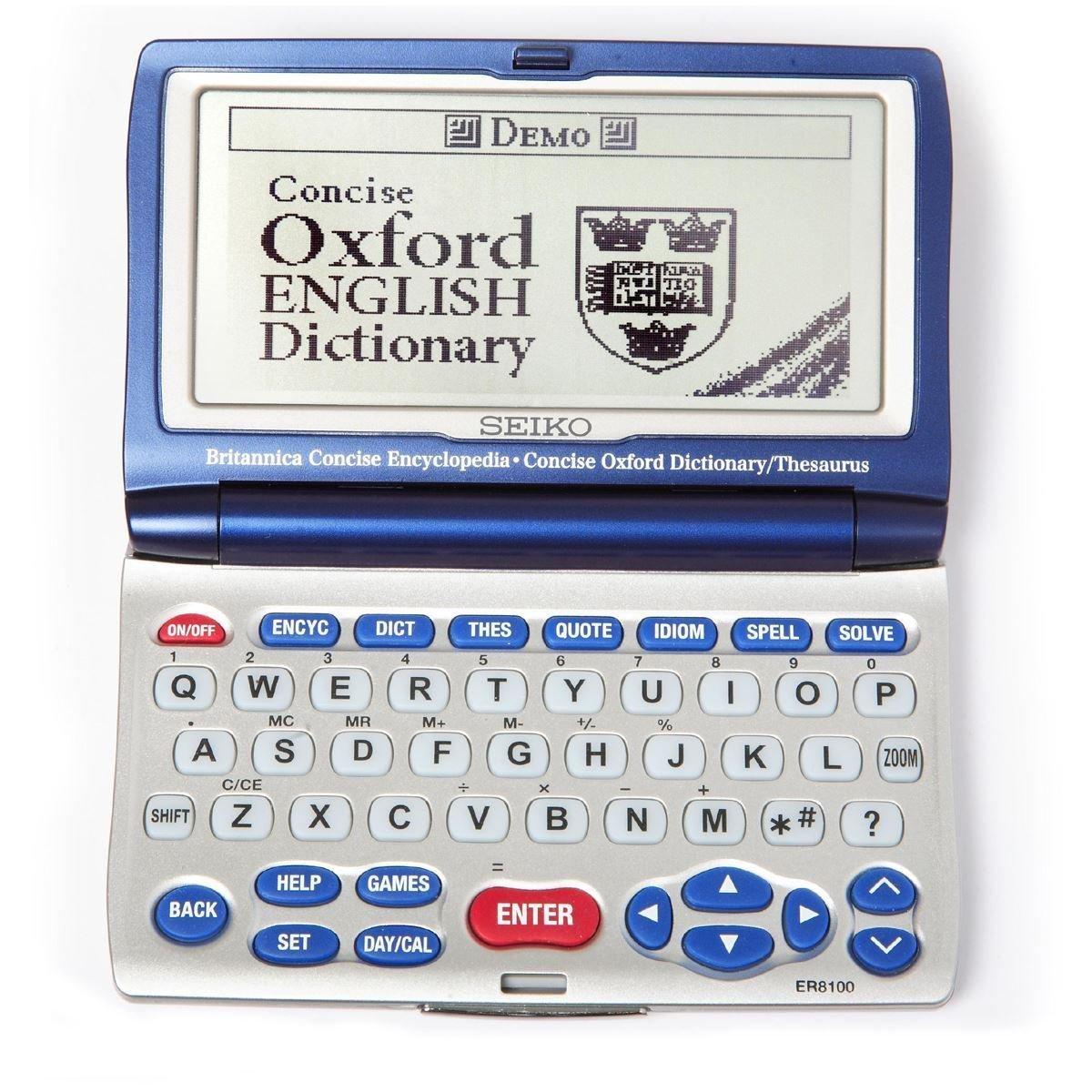 Seiko ER8100 Britannica & Oxford Encycolpedia Dictionary Thesaurus Spellchecker Silver / Blue Dimension 0.78x6x2 inches