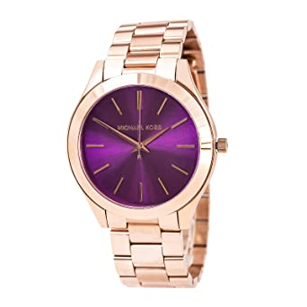 c07f968b2726 Image Unavailable. Image not available for. Color  Michael Kors Women s  Slim Runway Rose Gold-tone Stainless Steel Bracelet Watch 42mm Mk3293