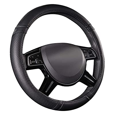 CAR PASS Classical Leather Automotive Universal Steering Wheel Covers,Universal Fit for Suvs,Trucks,Sedans,Cars,Vans(Black): Automotive