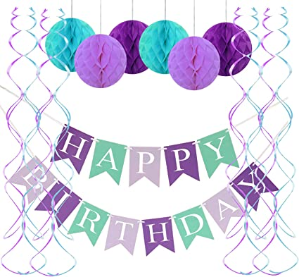Amazon.com: FECEDY - Pancarta de sirena para cumpleaños ...