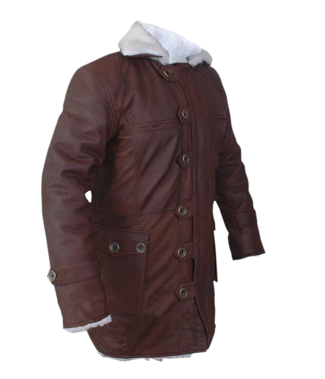 F&H Boy's Bane Genuine Stonewash Leather Shearling Coat XXS Brown
