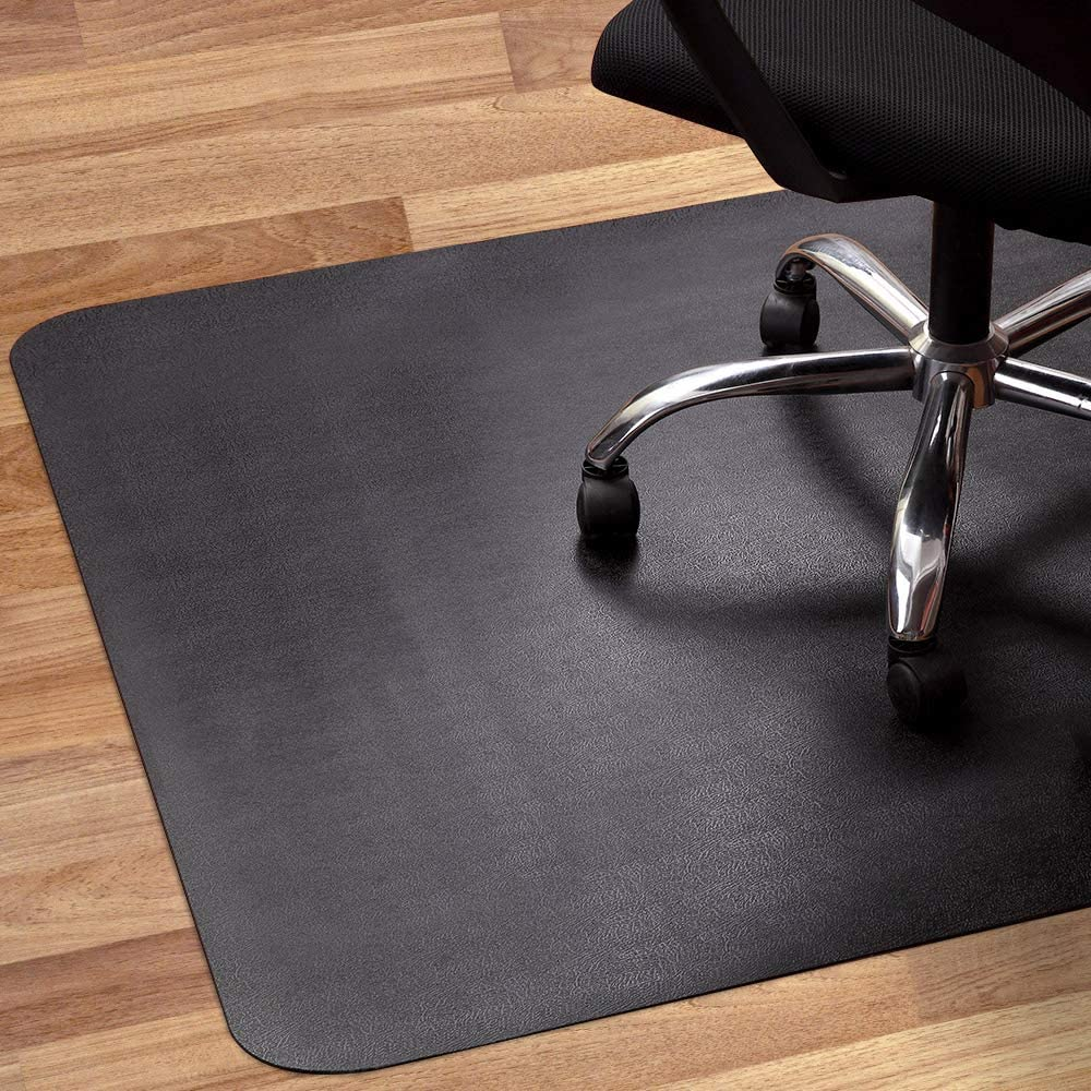 Office Chair Mat for Hardwood and Tile Floor, Black, Anti-Slip, Non-Curve,  Under the Desk Mat Best for Rolling Chair and Computer Desk, 4 x 4