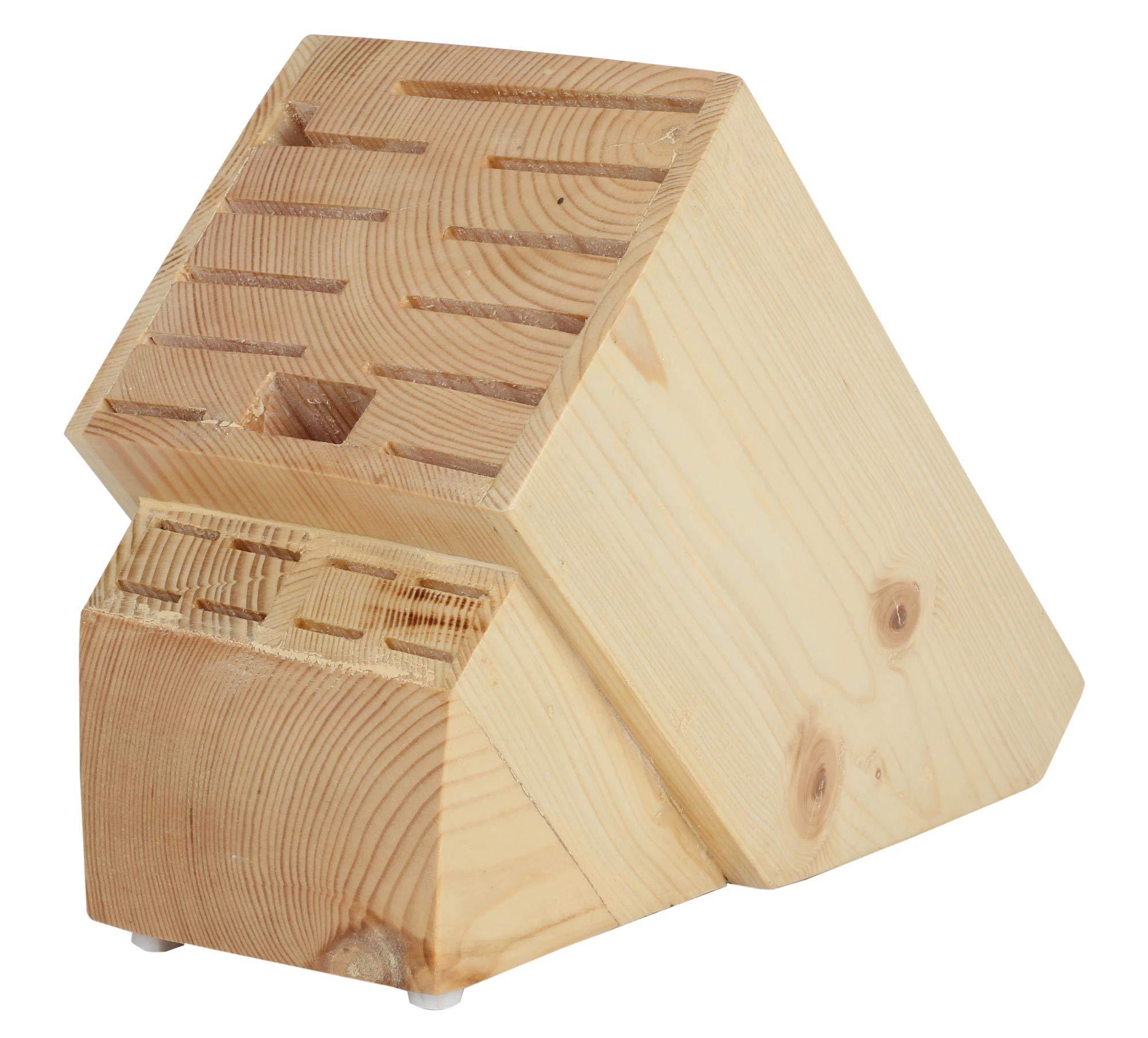 20 Slot Knife Holder Rack - Kitchen Knife Storage Wood Stand Organizer - Universal Knife Block Without Knives
