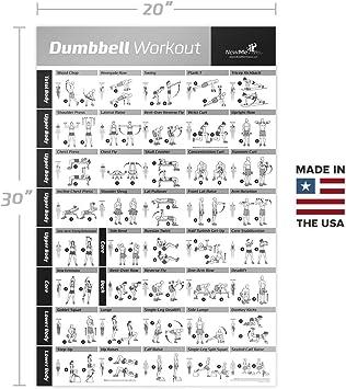 newme Fitness mancuernas (Póster de ejercicios 500 mm x 700 mm