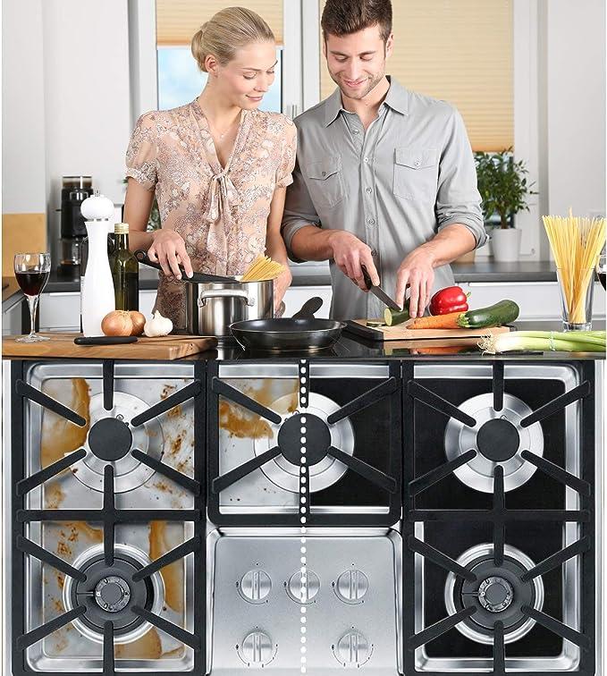 negro DOITOOL 10 piezas protectores de quemador de estufa de gas reutilizable y antiadherente cubiertas de quemador de estufas de gas 0.2 mm para cocina de cocci/ón