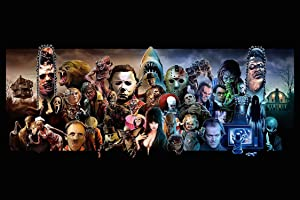 Classic Horror Villains and Monsters MASH UP Movie Character Collage Art Poster 24x36 inches with Certified Sequential Holographic Sticker for Authenticity