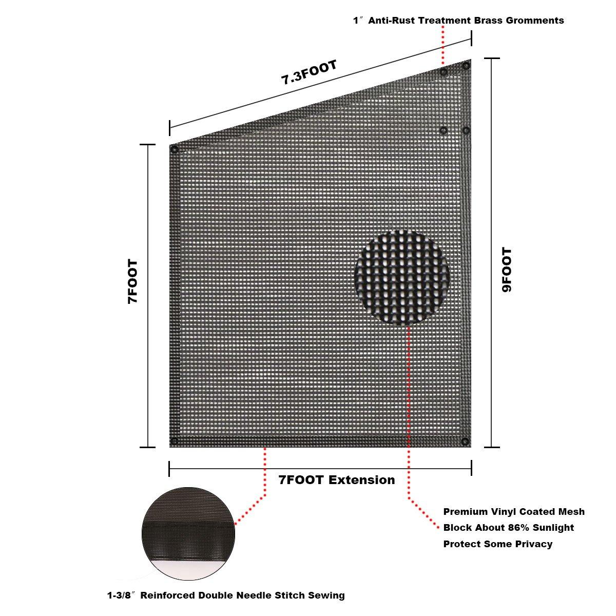 Tentproinc RV Awning Side Shade 9'X7' - Black Mesh Screen