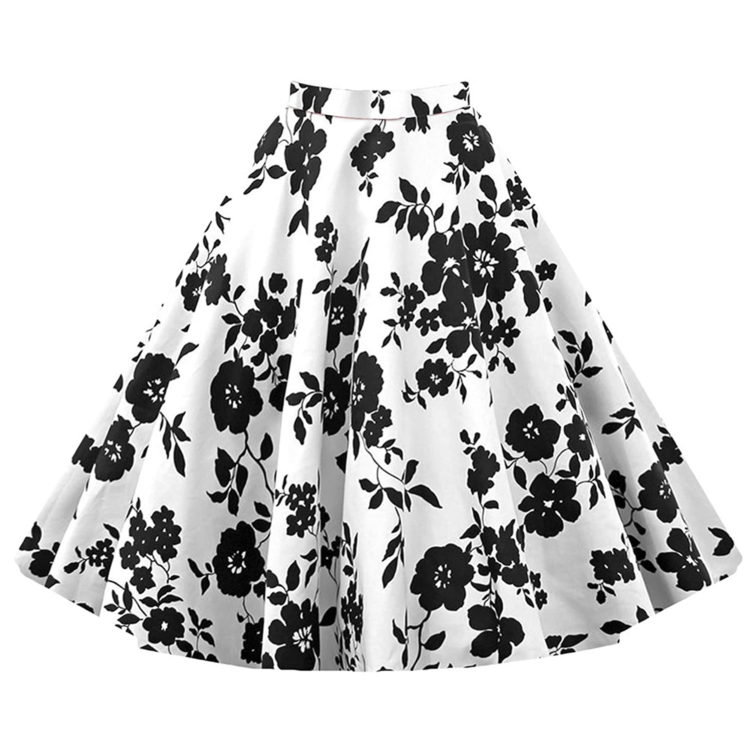 WintCO Damen Audrey Hepburn Rock 50s Rockabilly Vintage Buble Skirt Swing Röcke Retro