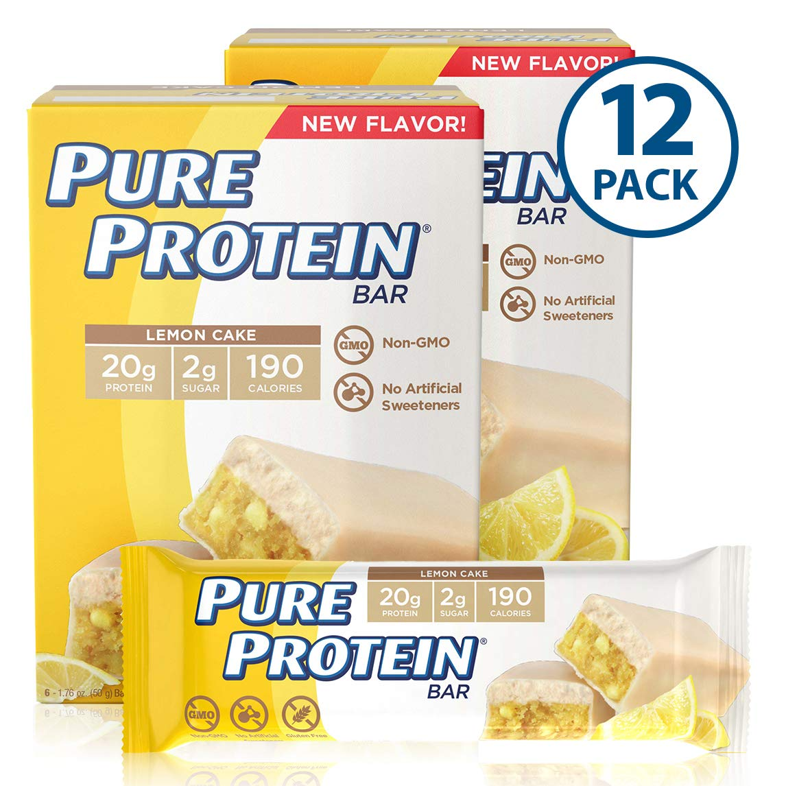 Pure Protein Bars, High Protein, Nutritious Snacks to Support Energy, Low Sugar, Gluten Free, Lemon Cake, 1.76oz, 12 Pack by Pure Protein