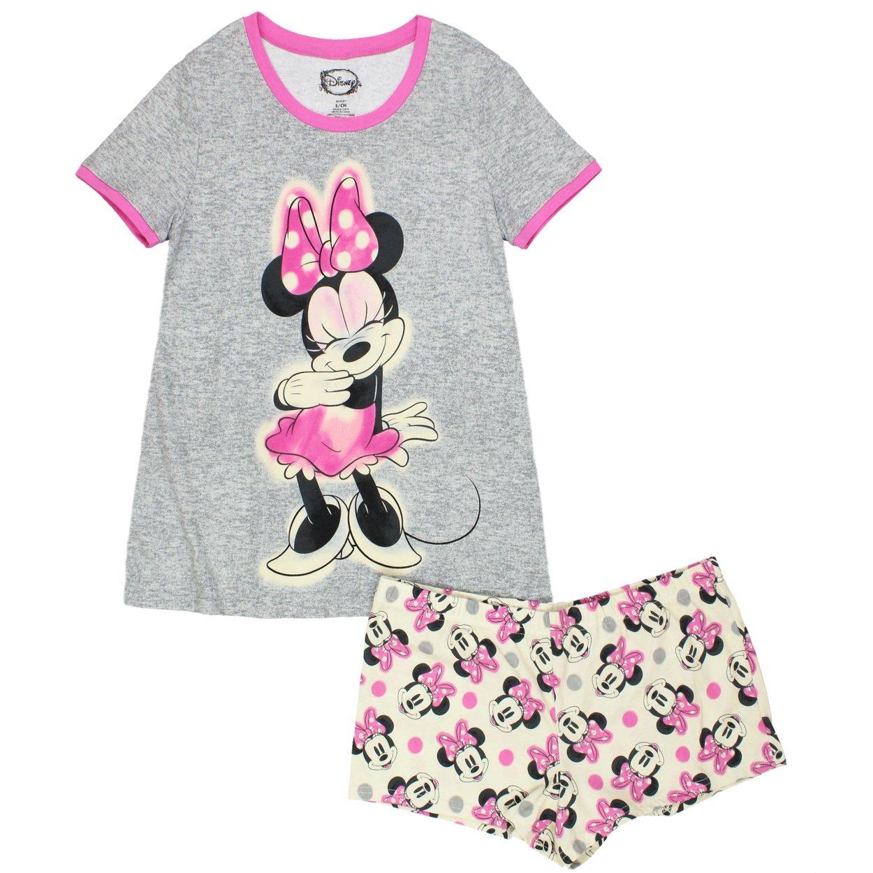 Disney Womens Minnie Mouse Juniors Shorts Pajama Set