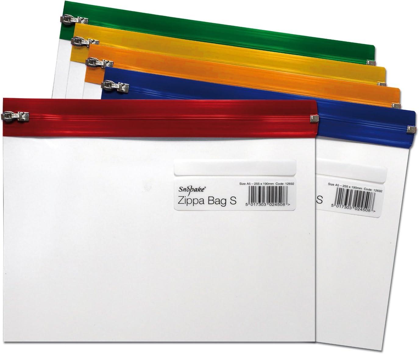 Snopake Zippa Bag 'S' - Bolsa con cierre por cursor (5 unidades, A5, 255 x 190 mm), diseño transparente, multicolor