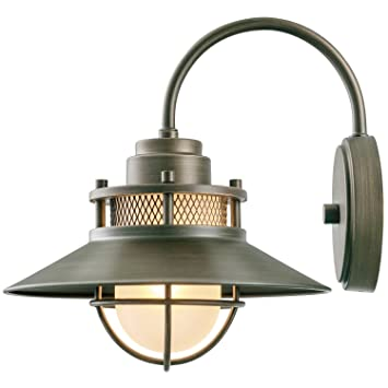 Globe Electric Liam Outdoor Wall Sconce Bronze Finish Frosted White Glass Shade