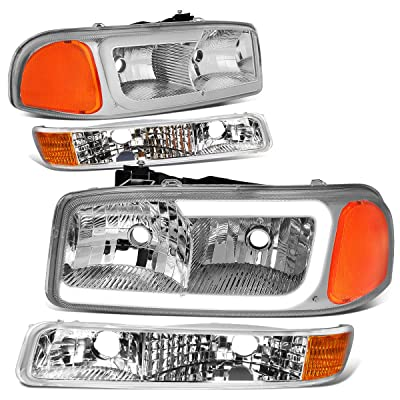 DNA Motoring Chrome amber HL-LB2-SIERRA99-CH-AM LED DRL Front Driving Headlight+Turn Signal Bumper Lamps Upgrade: Automotive